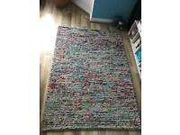Shabby chic large wool rug