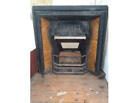Antique Cast Iron Fireplace Insert For Sale
