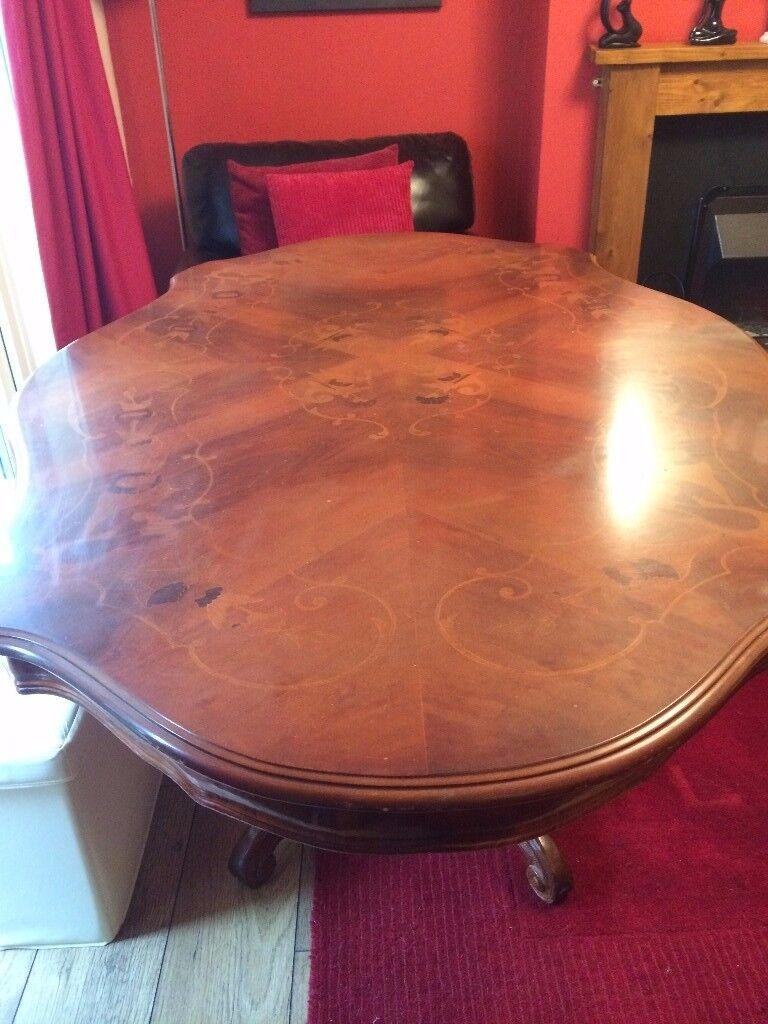 victorian inlaid pedestal table