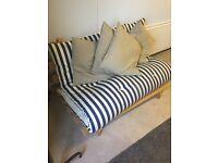 Navy and white striped futon