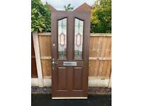Brown Front Door with 5 lever mortice and Yale locks