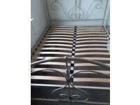 King size metal bedframe & mattress if required