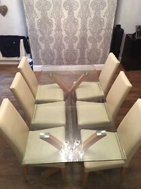 Glass Table With Pine Legs Cream Chairs 6