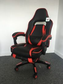 Cherry Tree Furniture High Back Recliner Racing Style Gaming Swivel Chair with Footrest