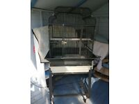 LARGE METAL BIRD CAGE WITH WHEELED STAND