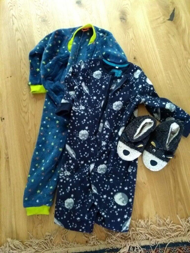 Boys pyjama onesie bundle 4-5 years and slippers size 10  d37c7e953