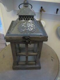 Shabby chic rustic greyish brown wood candle lantern