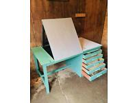 Vintage Retro Architects Draughtsmans Desk and Drawers