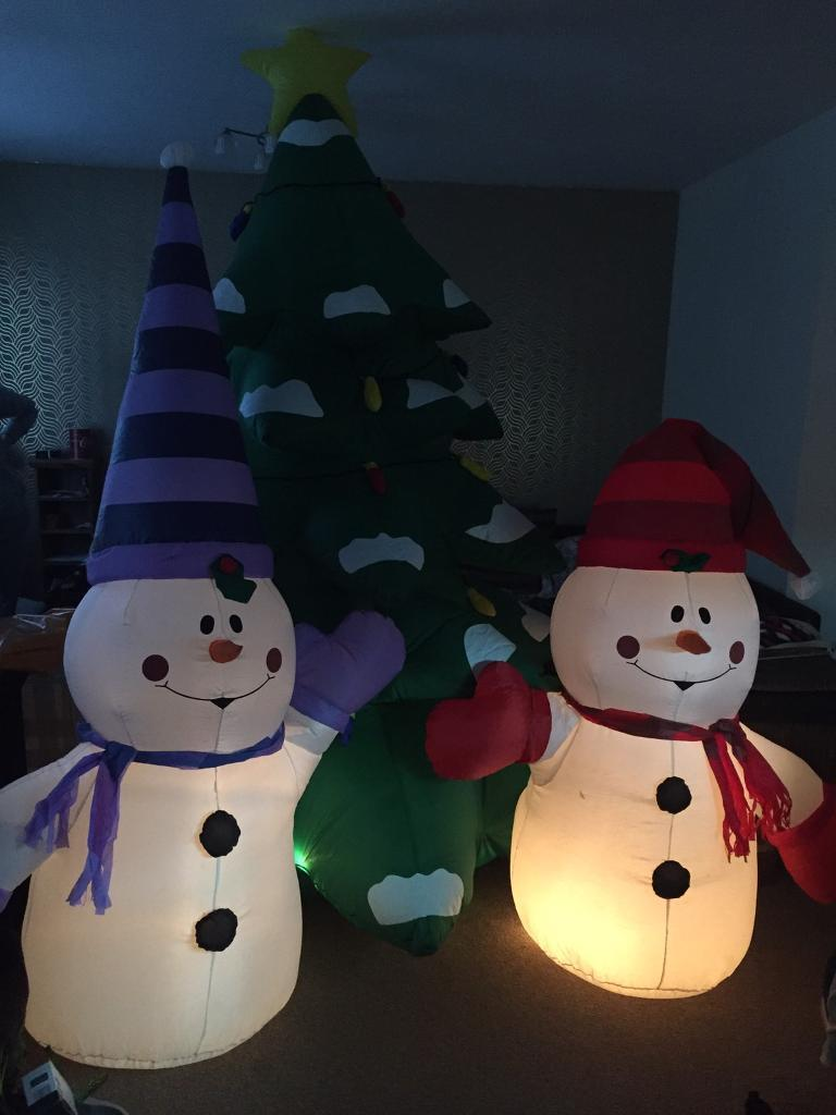 huge inflatable christmas tree and snow men - Huge Inflatable Christmas Decorations