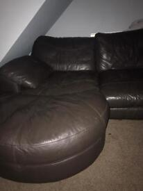 Leather sette and pouffe