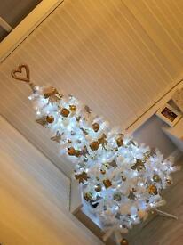 5ft white Christmas tree plus decorations