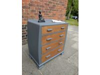 Vintage rustic oak chest of drawers. Industrial/shabby chic. Slate grey.