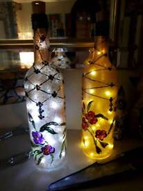 Hand painted illuminated bottle
