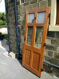Solid Meranti part glazed door