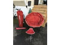 Large moon chairs with matching footstalls