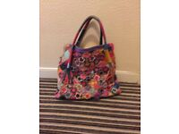 Colourful leather oversized bag