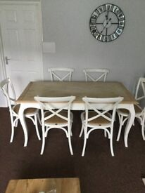 Shabby Chic Dining Table with 6 chairs