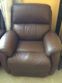 1 seater brown leather power assisted recliner with 1 usb socket