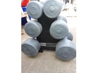 Need to clear! Pro Fitness Dumbbell, 2x 1.1kg, 2x 2.3kg, 2x 4.5kg in holder - 15.8Kg Tree set!