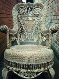 Stunning Edwardian wicker rocking chair