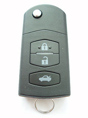 Replacement 3 button flip key case for Mazda 2 3 6 MX5 RX8 remote fob