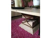 Marble & wrought iron framed coffee table