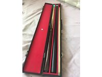 2 three piece snooker cues