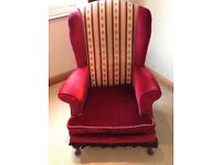 Fabric velvet wingback armchair red
