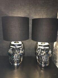 2 Silver Skull lamps
