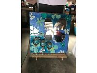 Ceramic turquoise mirror with 3 decorative gold and turquoise goblets