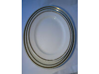 3 x Vintage Very Large Oval Meat Platters - Losol Ware & John Maddock & Sons.