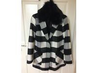 Ladies black & white check pattern coat - removable collar - size 12