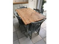 Farmhouse kitchen table and chairs for sale - French Grey Paint sanded and sealed