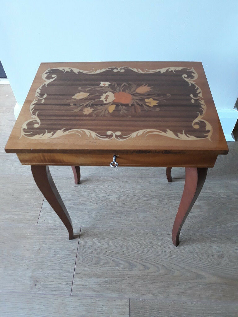 Sewing Box With Italian Inlaid Wood
