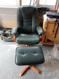 Leather Swivel and reclining chair.