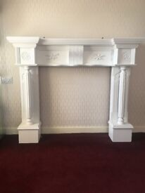 BUYER TO COLLECT very large white wooden fire surround and matching mirror