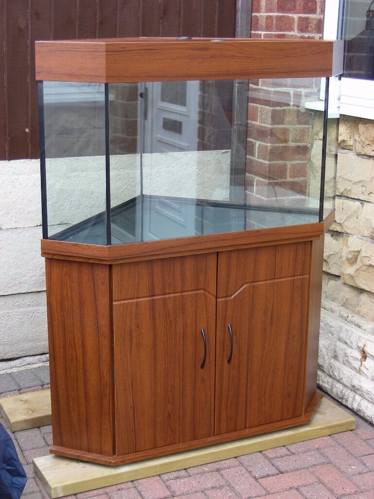 Large 250 litre 55 gallon corner fish tank aquarium for Corner fish tank for sale
