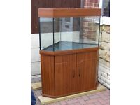 Large 250 Litre ( 55 Gallon ) Corner Fish Tank Aquarium Vivarium Glass Cage Storage Cabinet Cupboard