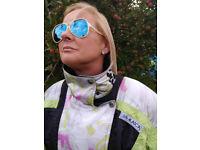 Vintage Ladies Ski Suit by Alasca Size 8-10 UK Lime Black 1980s One Piece
