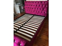 double bed, king size, Bordeaux Luxurious Plush Velvet Sleigh Bed Crystal Buttoned - purple