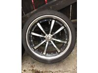 """17"""" 4x100 RS Futura 4 Gloss Black Polished Face & Stainless Rim Alloy Wheels with tyres - MX5 etc"""