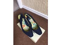 Navy suede ladies shoes