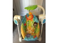 Fisher price baby swing - space saver seat and swing, jungle design