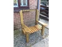 Handmade bespoke large wooden garden throne