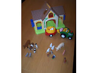 Farm + animals + tractor with trailer