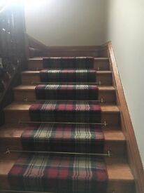 Antique solid brass stair rods with all fixings