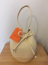 New Bucket Bag Womens Hand Bag Basket Bag Tote Cotton