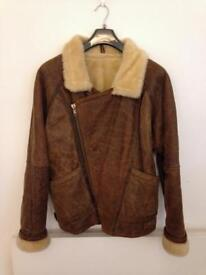 Excellent sheepskin leather flying jacket size: M