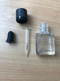 Square Clear Glass Bottle with pipette
