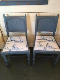 Beautiful pair of vintage oak shabby chic chairs